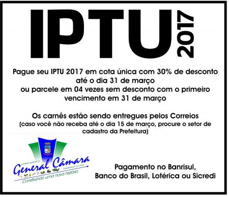 IPTU vence na sexta-feira