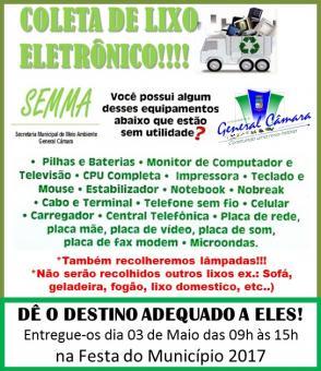 Dia 03 de maio tem coleta de lixo eletrônico