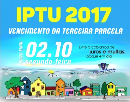 3ª cota do IPTU 2017 vence na próxima segunda-feira