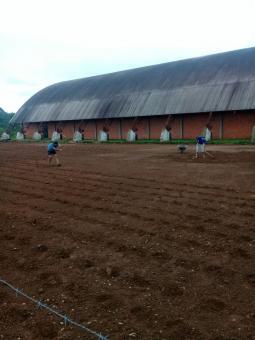 Grama é plantada no campo de Futebol Sete