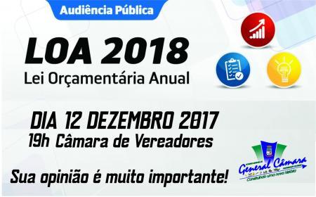 Audiência Pública sobre o Orçamento 2018 será dia 12