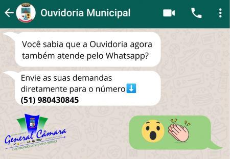 General Câmara conta com canal de whatsapp para atender demandas da Ouvidoria