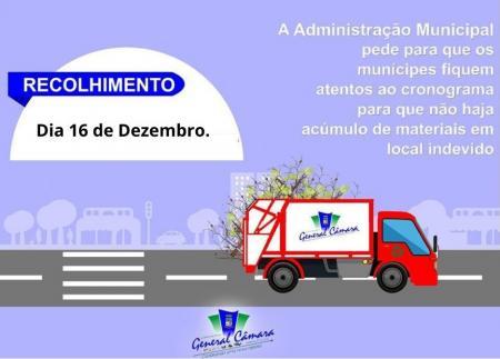 Administração realizará recolhimento de resíduos verdes no dia 16 de dezembro