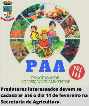 Prefeitura convoca agricultores familiares interessados em se inscreverem no programa