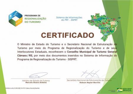 General Câmara passa a integrar o Mapa do Turismo Brasileiro 2019/202