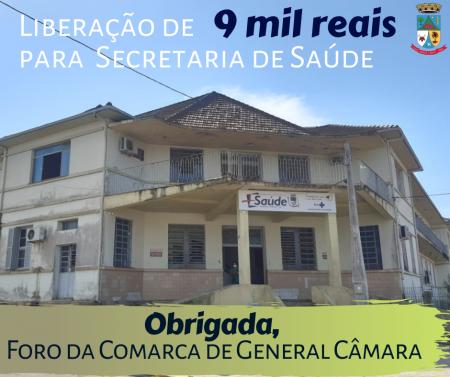 Liberação de 9 mil reais para a Secretaria de Saúde.