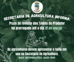 Atenção agricultores ao pagamento do Talão!